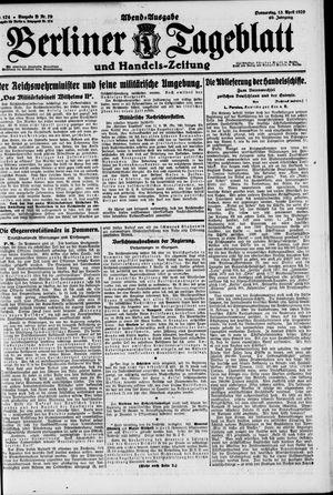 Berliner Tageblatt und Handels-Zeitung on Apr 15, 1920