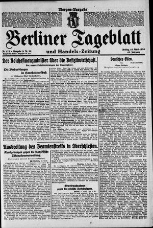 Berliner Tageblatt und Handels-Zeitung vom 16.04.1920