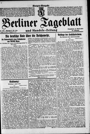 Berliner Tageblatt und Handels-Zeitung vom 24.04.1920