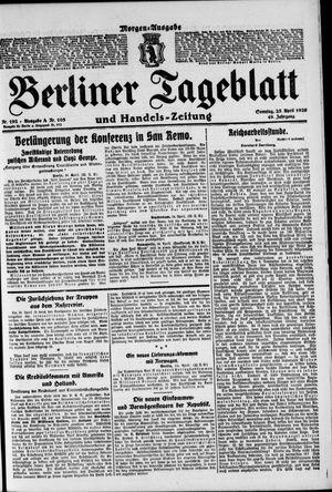 Berliner Tageblatt und Handels-Zeitung vom 25.04.1920
