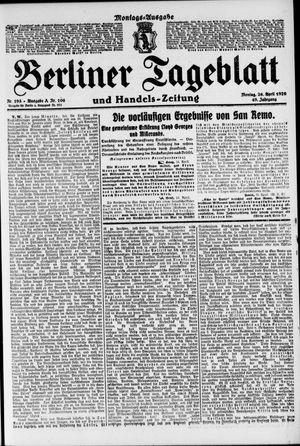 Berliner Tageblatt und Handels-Zeitung vom 26.04.1920