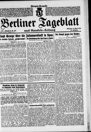 Berliner Tageblatt und Handels-Zeitung vom 28.04.1920