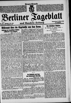 Berliner Tageblatt und Handels-Zeitung vom 29.04.1920