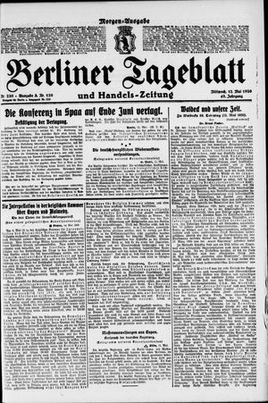 Berliner Tageblatt und Handels-Zeitung on May 12, 1920