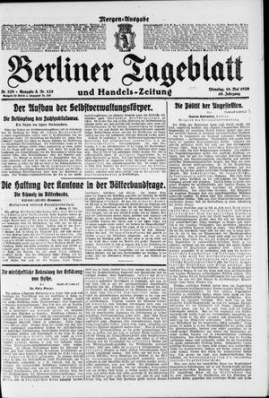 Berliner Tageblatt und Handels-Zeitung vom 18.05.1920