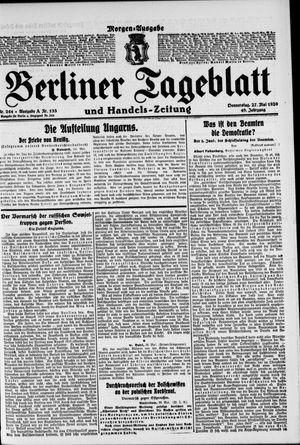 Berliner Tageblatt und Handels-Zeitung vom 27.05.1920