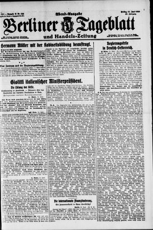 Berliner Tageblatt und Handels-Zeitung on Jun 11, 1920