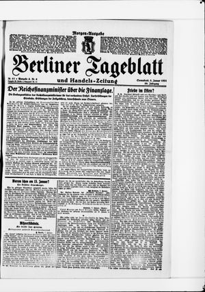 Berliner Tageblatt und Handels-Zeitung vom 08.01.1921
