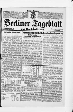Berliner Tageblatt und Handels-Zeitung vom 27.01.1921