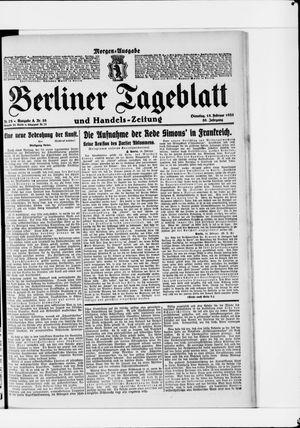 Berliner Tageblatt und Handels-Zeitung vom 15.02.1921