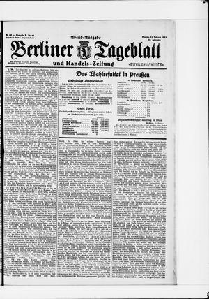 Berliner Tageblatt und Handels-Zeitung vom 21.02.1921