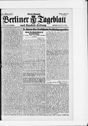 Berliner Tageblatt und Handels-Zeitung vom 11.04.1921