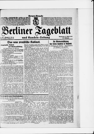 Berliner Tageblatt und Handels-Zeitung vom 21.04.1921