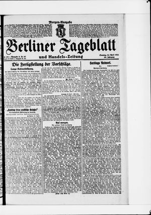 Berliner Tageblatt und Handels-Zeitung vom 24.04.1921