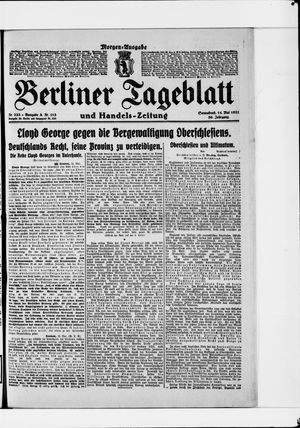 Berliner Tageblatt und Handels-Zeitung on May 14, 1921