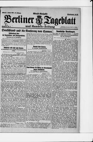 Berliner Tageblatt und Handels-Zeitung vom 04.01.1922