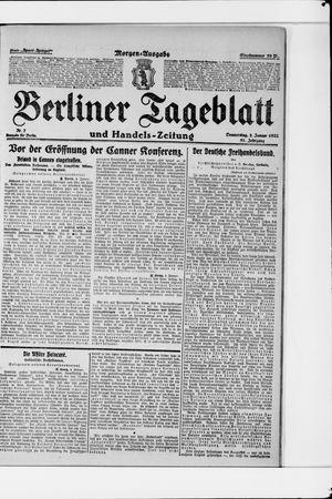 Berliner Tageblatt und Handels-Zeitung vom 05.01.1922