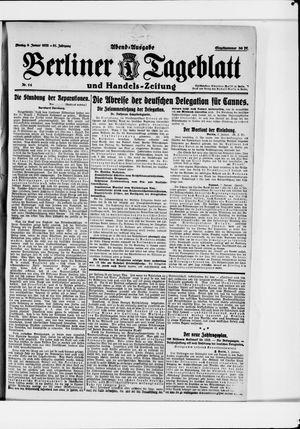 Berliner Tageblatt und Handels-Zeitung vom 09.01.1922