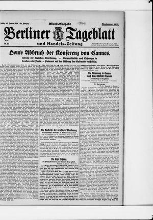 Berliner Tageblatt und Handels-Zeitung vom 13.01.1922