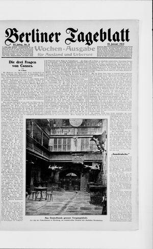 Berliner Tageblatt und Handels-Zeitung vom 18.01.1922