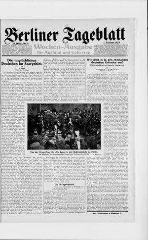 Berliner Tageblatt und Handels-Zeitung vom 01.02.1922