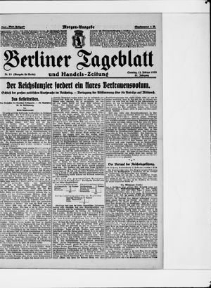 Berliner Tageblatt und Handels-Zeitung vom 12.02.1922