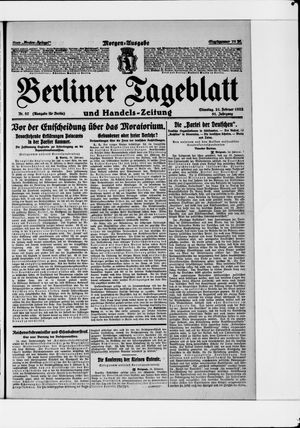 Berliner Tageblatt und Handels-Zeitung vom 21.02.1922