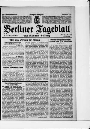 Berliner Tageblatt und Handels-Zeitung vom 08.03.1922