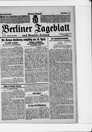 Berliner Tageblatt und Handels-Zeitung vom 14.03.1922