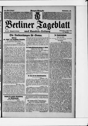 Berliner Tageblatt und Handels-Zeitung vom 06.04.1922