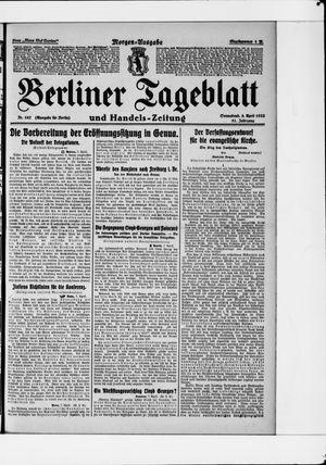 Berliner Tageblatt und Handels-Zeitung vom 08.04.1922