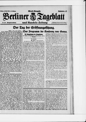 Berliner Tageblatt und Handels-Zeitung vom 10.04.1922