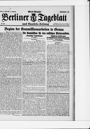 Berliner Tageblatt und Handels-Zeitung vom 11.04.1922