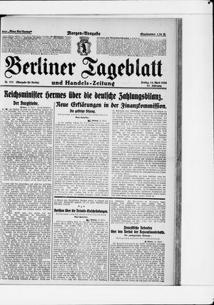 Berliner Tageblatt und Handels-Zeitung vom 14.04.1922