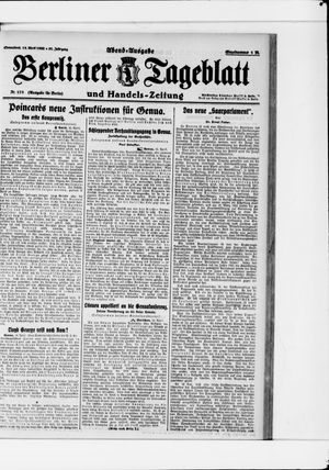 Berliner Tageblatt und Handels-Zeitung vom 15.04.1922