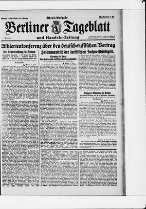 Berliner Tageblatt und Handels-Zeitung vom 18.04.1922