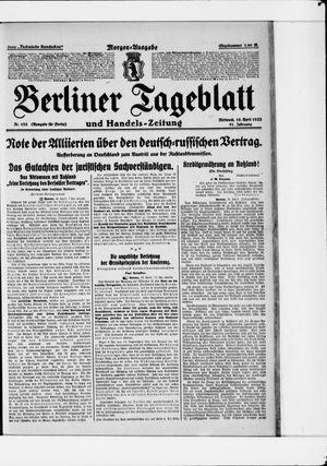 Berliner Tageblatt und Handels-Zeitung vom 19.04.1922