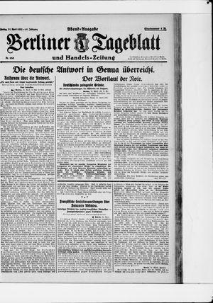 Berliner Tageblatt und Handels-Zeitung vom 21.04.1922