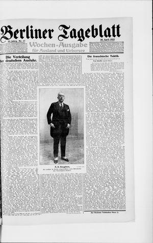 Berliner Tageblatt und Handels-Zeitung vom 26.04.1922