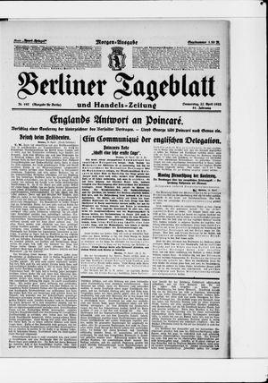 Berliner Tageblatt und Handels-Zeitung vom 27.04.1922