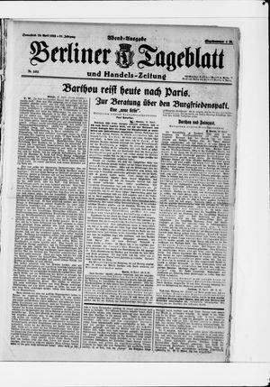 Berliner Tageblatt und Handels-Zeitung vom 29.04.1922