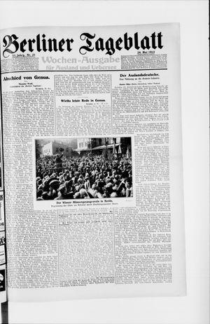 Berliner Tageblatt und Handels-Zeitung vom 24.05.1922