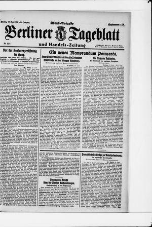 Berliner Tageblatt und Handels-Zeitung vom 13.06.1922