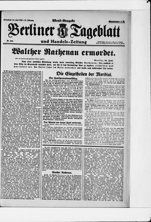 Berliner Tageblatt und Handels-Zeitung vom 24.06.1922