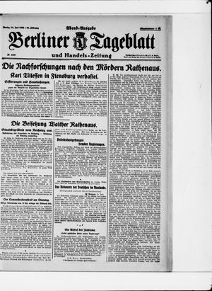 Berliner Tageblatt und Handels-Zeitung vom 26.06.1922