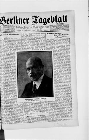 Berliner Tageblatt und Handels-Zeitung vom 28.06.1922