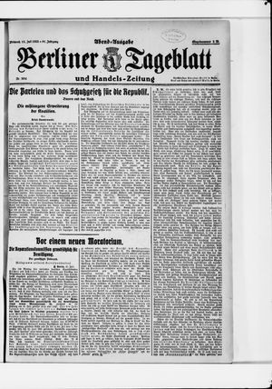 Berliner Tageblatt und Handels-Zeitung vom 12.07.1922