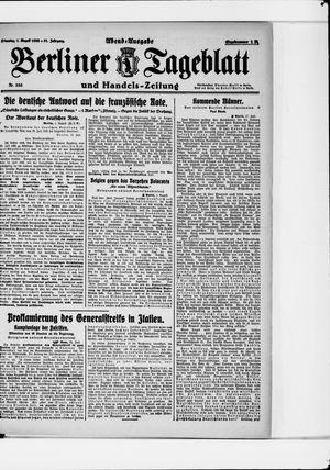 Berliner Tageblatt und Handels-Zeitung vom 01.08.1922