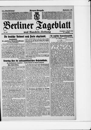 Berliner Tageblatt und Handels-Zeitung vom 05.08.1922