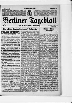 Berliner Tageblatt und Handels-Zeitung vom 06.08.1922